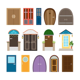 Collection of house doors. wooden and architecture doorway, entrance and front, exit and enter.