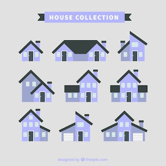 Collection of house facades in flat design