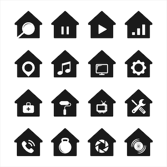 Collection of house icon shapes with various combinations. premium vectors.