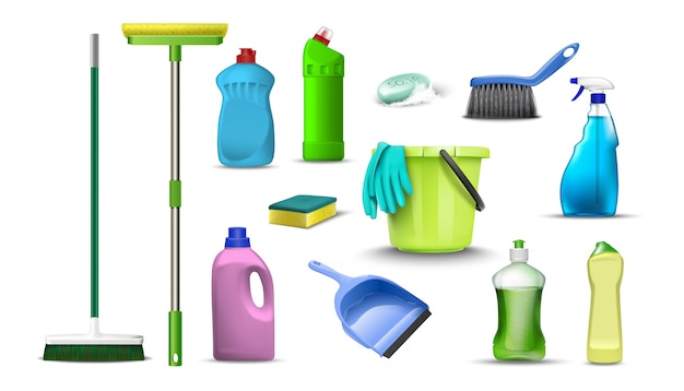 Collection of household cleaning products. isolated on white