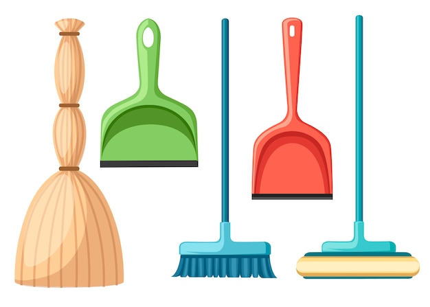 Collection of household cleaning utensil. broom, mop, scoop.   illustration  on white background