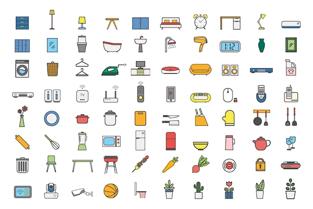 Collection of household item vectors