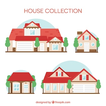 Collection of houses with red roofs