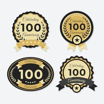 Collection of hundred anniversary badges