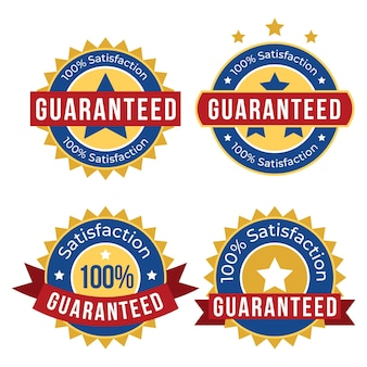 Collection of hundred percent guarantee badges