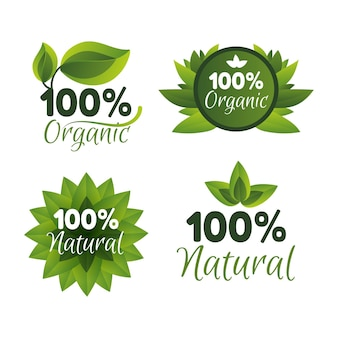 Collection of hundred percent natural badges
