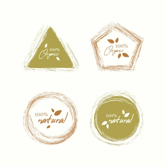 Collection of hundred percent natural labels