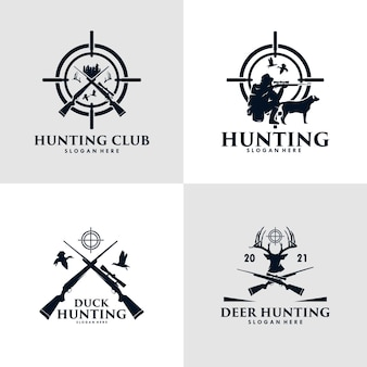 Collection of hunting duck, deer and with hunting sniper rifle and dog hunt logo design