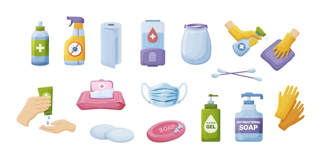 Collection hygiene product. personal tools for cleaning, washing and antibacterial protection