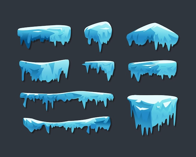 Collection of ice caps isolated on grey