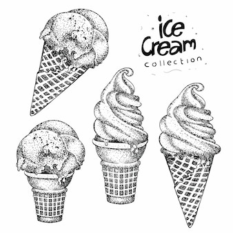 Collection of ice cream in hand drawn