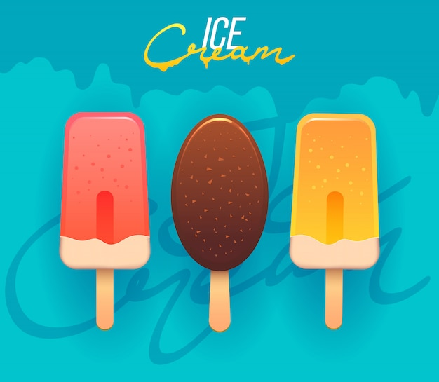 Collection of ice cream illustrations. ice cream shop logo badges and labels
