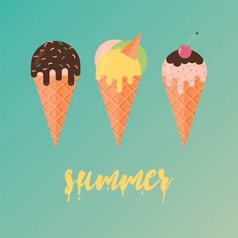 Collection of ice cream illustrations
