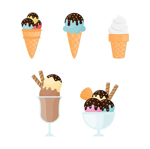 Collection of ice cream isolated on white background.