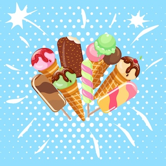 Collection of ice cream sweet dessert cold food vector illustrations isolated. tasty creamy snack dairy waffle flavor cold ice-cream frozen scoop. soft delicious milk icecream ball.