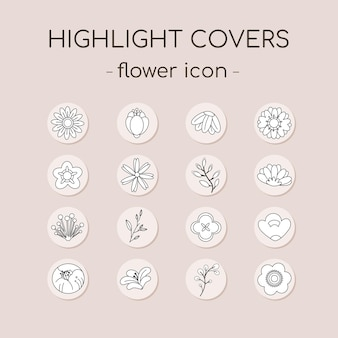 The collection of icon set of instagram highlight cover with outline flower and leaves.
