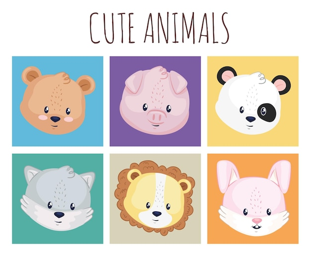 Collection of icons with animals