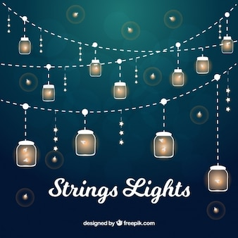 Collection of illuminated strings with dragonflies