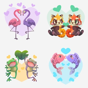 Collection of illustrated animals couple