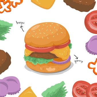 A collection of illustrated burger ingredients