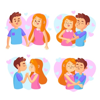 Collection of illustrated cute couple