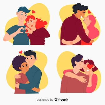 Collection of illustrated cute couples