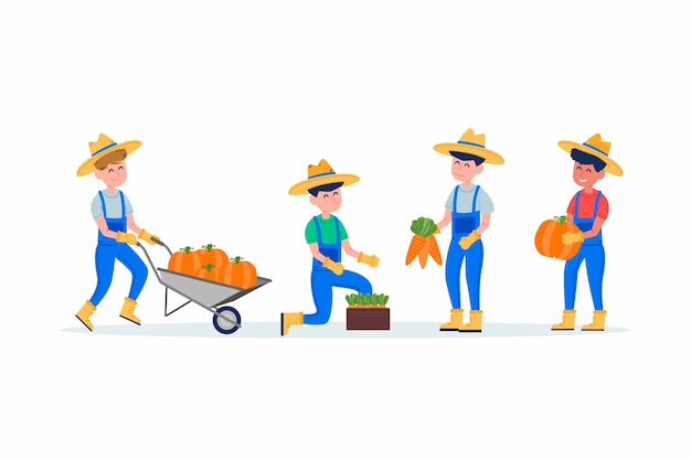 Collection of illustrated farm workers