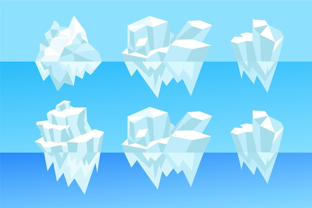 Collection of illustrated icebergs in the ocean