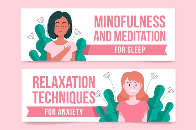 Collection of illustrated meditating banners