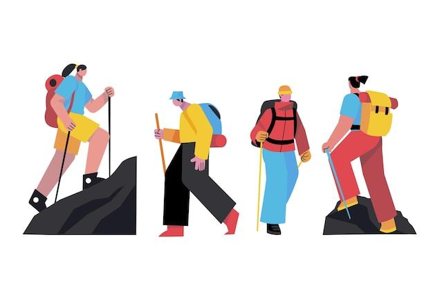 Raccolta di persone illustrate che fanno escursioni