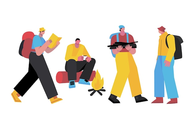 Collection of illustrated people hiking