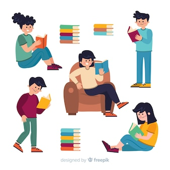 Collection of illustrated people studying