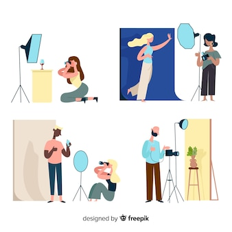 Collection of illustrated photographers taking shots of different models