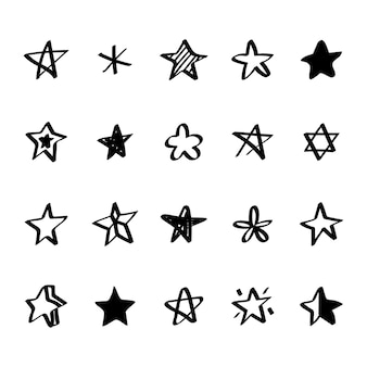 Collection of illustrated star icons