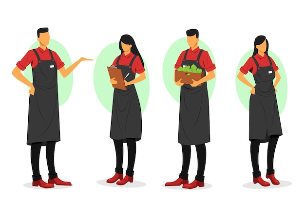 Collection of illustrated supermarket workers