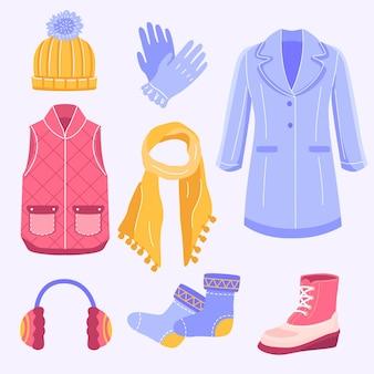 Collezione di abiti invernali illustrati