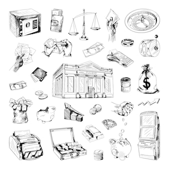Collection of illustrations of finance in sketch style