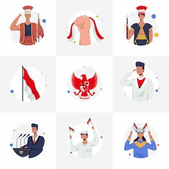 Collection of illustrations indonesian independence day for instafeed. proclamation, pancasila, traditional clothes of indonesia, and national ceremony. flat vector illustration.