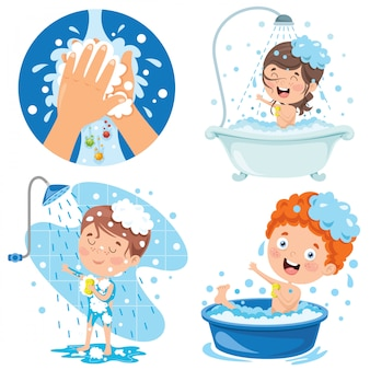 Collection of illustrations for kids personal care