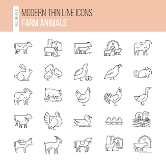 Collection of illustrations in line style, well-drawn and isolated