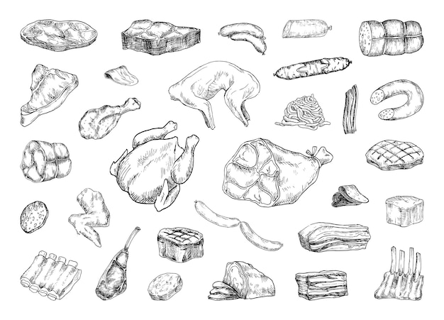 Collection of illustrations of meat products in sketch style