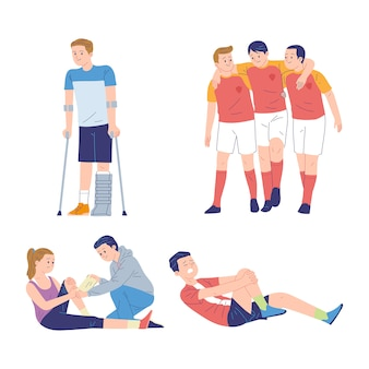 Collection of illustrations of people affected by injuries and illness due to sports