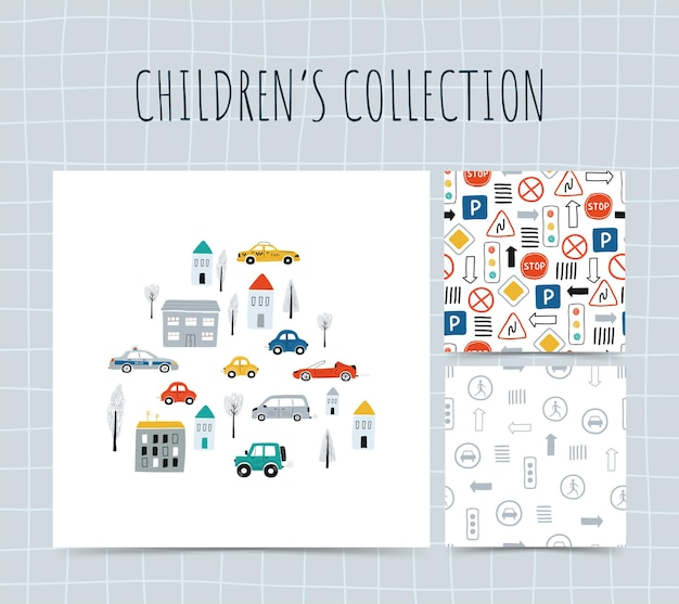Collection illustrations with cars.