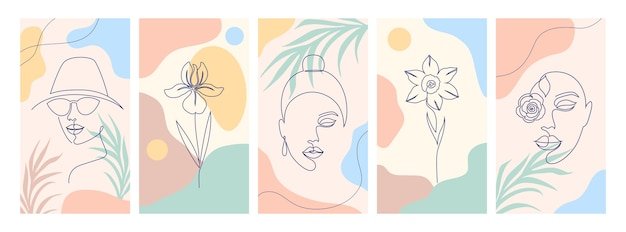 Collection of illustrations with one line drawing style and abstract shapes.