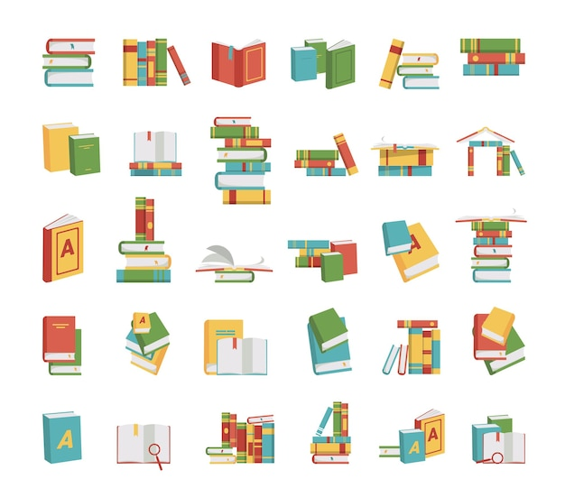 Collection of illustrations with stacks of books.