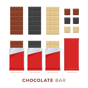 Collection image of chocolate bar with red package. isolated