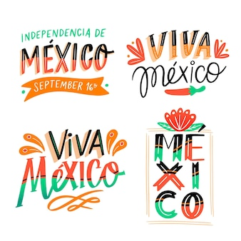 Collection of independence day of mexico lettering badges Free Vector
