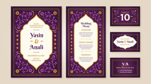 Collection of indian wedding stationery
