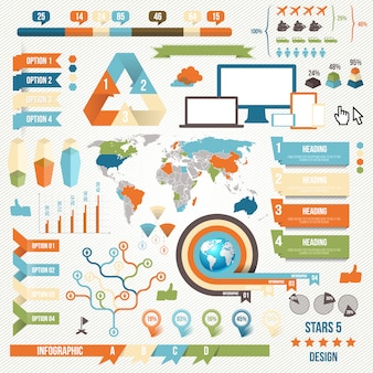 Collection of infograph people elements for business