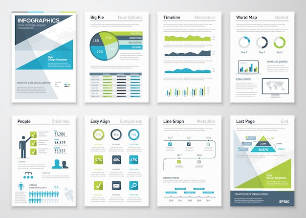 Collection of infographic elements and business brochures